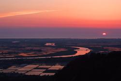 庄内平野の夕陽